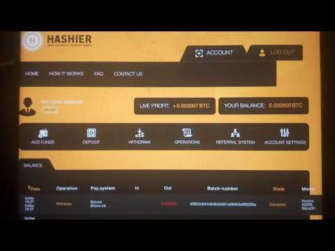 SCAM Hashier 105%-200% after 1-10 days Bitcoin. Вывод 0.025 ВТС