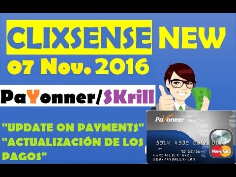 ClixSense NEWS pagara por tarjeta Payoneer Skrill Bitcoin Problemas Solucion Noviembre 2016