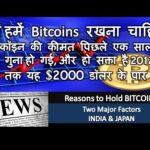 क्यों हमें Bitcoins रखना चाहिए! पिछले साल में कीमत तीन गुना हो गई, 2017 के अंत तक यह $2000 हो !