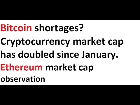 Bitcoin shortages? Crypto market cap has doubled since January.  Ethereum market cap observation