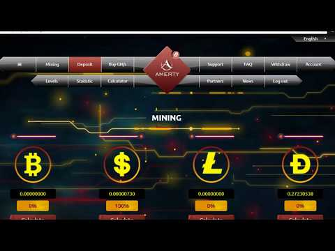 Amerty Free 100 Ghs Bonus Earn Bitcoin Litecoin Dogecoin USD Mining Site No Investment