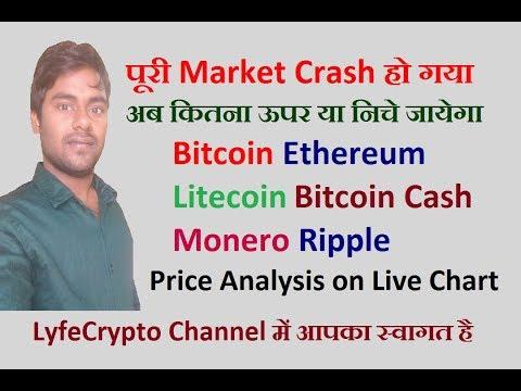 Bitcoin Ethereum Litecoin monero Bitcoin Cash Ripple  Price today On live chart market crash today