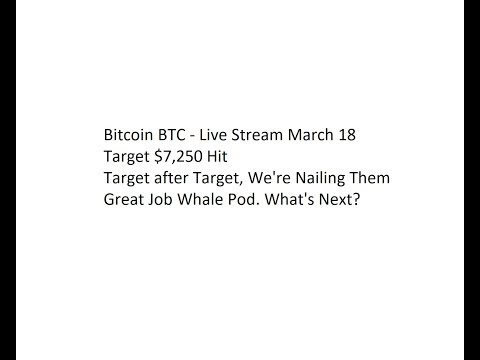 Bitcoin BTC - Live Stream March 18. Target $7,250 Hit. Great Job Whale Pod. What's Next?