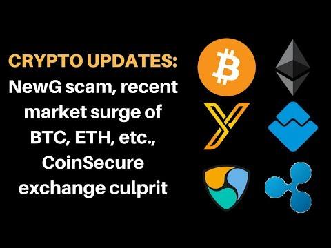 Crypto Updates: NewG scam, recent market surge of Bitcoin, Ethereum, Coinsecure exchange culprit