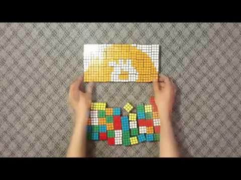 Лого Bitcoin из сотни кубиков Рубика