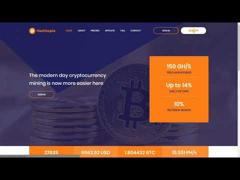 Free Bitcoin Mining | Hashtopia | 150 GHs Bonus