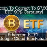 Crypto News | Bitcoin To Correct To $7,600? ETF 90% Certainty! Ethereum ETF? Google Cloud Blockchain