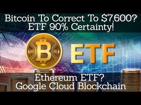 Crypto News | Bitcoin To Correct To $7,600? ETF 90% Certainty! Ethereum ETF? Google Cloud Blockchain
