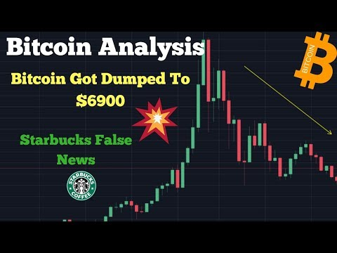 Bitcoin Dump $6900 | Bitcoin Technical Analysis, Market Manipulation, Starbucks False News