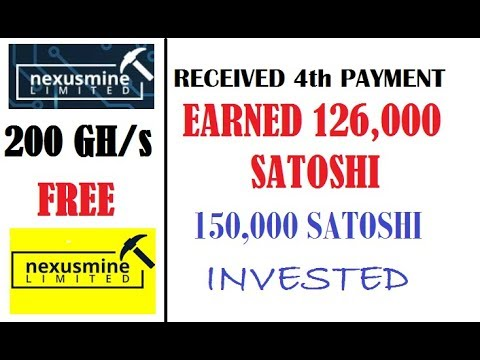 Bitcoin Mining - 200 GH/s Free - 4th Payment Received - 126,000 Satoshi Paid