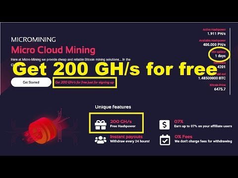 HOT! NEW BITCOIN CLOUD MINING | Get 200 GH/s for free just for signing up