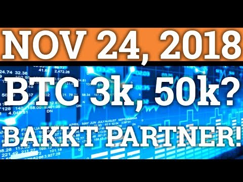 WILL BITCOIN BTC GO TO $3,000 or $50,000? BAKKT PARTNERSHIPS? (CRYPTOCURRENCY PRICE + NEWS 2018)