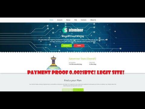 Satominer.io Payment Proof 0.0021 BTC - Free Bitcoin Cloud Mining 2019