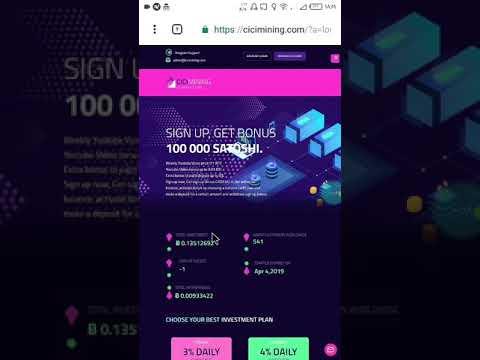New Earning Site CiCi Mining | SignUp Bonus 0.001 Satoshi - Earn Bitcoin With CICI Mining