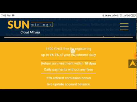 Sunmining bitcoin mining , sign up bonus 1400ghs free , latest mining project work.