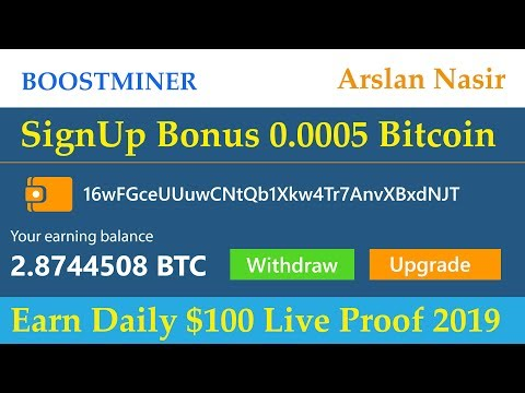 BoostMiner.io | New Free Bitcoin Cloud Mining Site 2019 | Signup Bonus 0.0005 BTC Live in Urdu Hindi