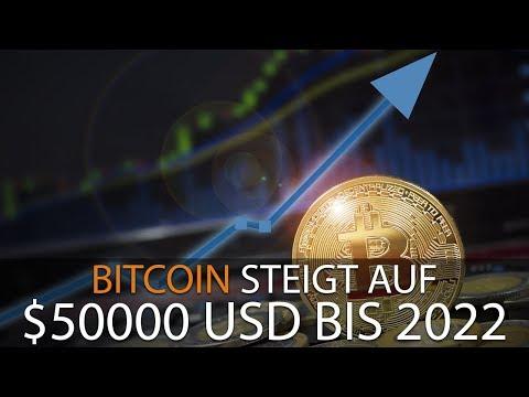 BITCOIN STEIGT AUF $50000 USD BIS 2022
