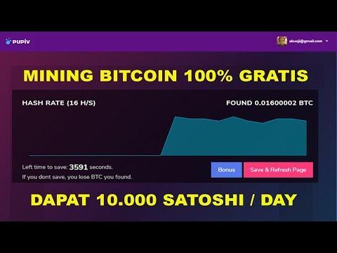100% GRATIS! CLOUD MINING BITCOIN 2019 - DAPAT 10.000 SATOSHI TIAP HARI