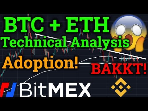 Bitcoin BTC + ETH Technical Analysis! Bakkt News! Binance Stellar XLM! Cryptocurrency/Bitmex Trading
