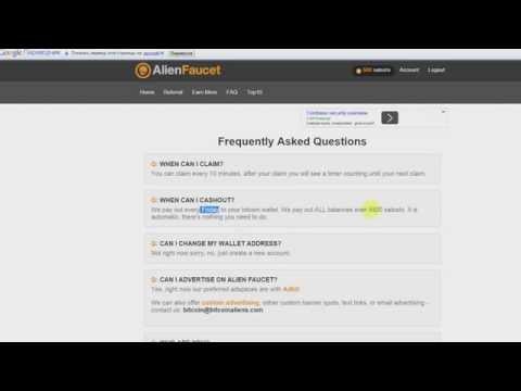 AlienFaucet Хороший Bitcoin кран раз в 5 минут! ~3048 сатоши в час!