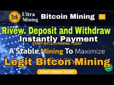 Ultra Bitcoin Mining App - Rivew Deposit and Withdraw instantly - Legit Bitcon Mining Website 2020