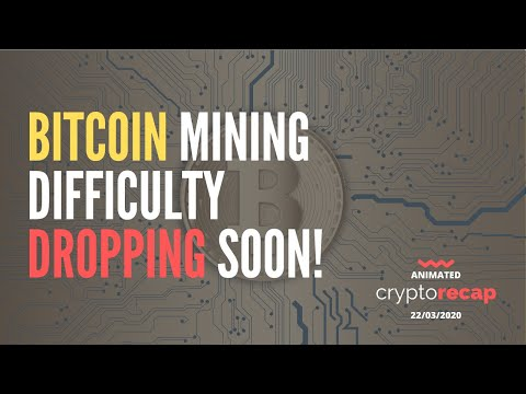 Bitcoin Mining Difficulty May drop by 15% in the next Adjustment | Animated Crypto Recap 22/03/20
