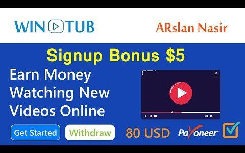 Wintub: Watch Paid Videos Online   Make Money Online – Earn Free USD    Signup Bonus $5 in Hindi