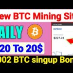 20$ Singup bonus, New Bitcoin mining site, New earning site 2020