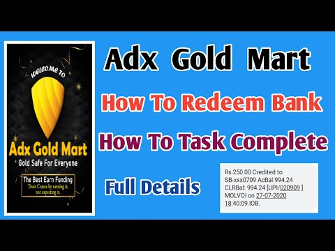 Adx Gold Mart Job   How to Redeem Bank & How to Task Complete  Tamilearntricks  
