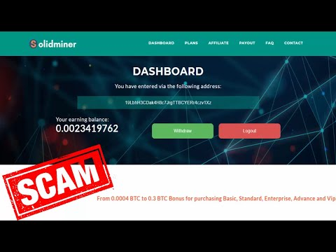 Solid Miner scam today no paying | Bitcoin scam mining  sites 2020