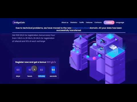 Indigo Coin New Free Bitcoin Mining Legit 2020 500 Gh/s for registration