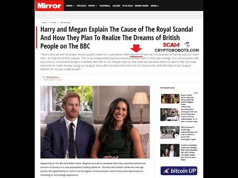 Bitcoin Up SCAM Uses Harry And Meghan In Fake News Promotion!