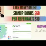 Earn Money Online | Signup Bonus $60 | How To Create Account In finco | Hindi/Urdu |