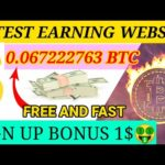 #FREEbitcoin #OnlineEarning #EarnBTC  Sign Up Bonus 1$ New FREE BITCOIN Mining Website/ NOINVESTMENT